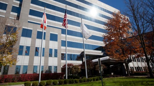 Flags outside Valeant Pharmaceuticals offices in Bridgewater Township, New Jersey.