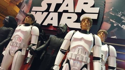 Star Wars toys on sale at Toys R Us in Times Square, New York.