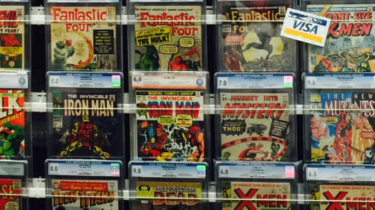 A wall of first-edition comics at Austin Comic Con.