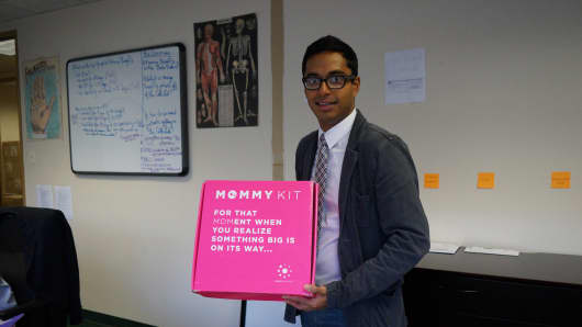 "Babyscripts co-founder and chief executive Anish Sebastian, displaying one of his company's ""Mommy Kits."""