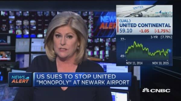 DOJ sues to stop United 'monopoly' at Newark Airport