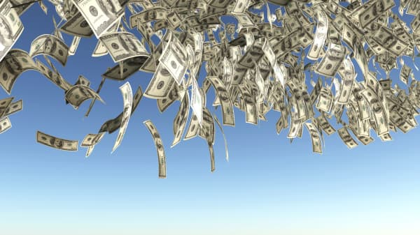 Dollars falling from sky