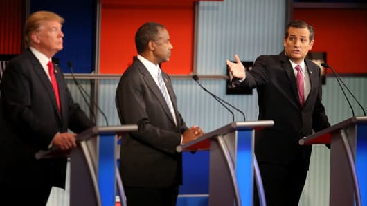 Republican presidential candidate Donald Trump (L) and Ben Carson (C) looks on as U.S. Sen. Ted Cruz (R-TX) speaks during the Republican Presidential Debate on November 10, 2015 in Milwaukee.