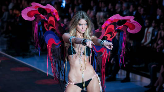 Martha Hunt walks the runway during the 2015 Victoria's Secret Fashion Show.