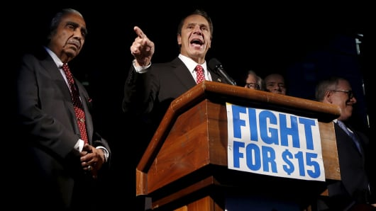 New York Gov. Andrew Cuomo speaks during a rally for fast food workers and their supporters in a nationwide protest for higher wages and union rights in New York on Nov. 10, 2015.