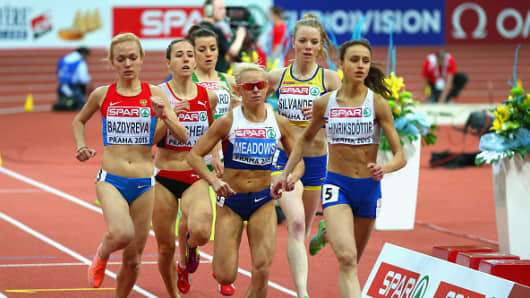 WADA's independent commission has recommended sanctions against Russian runner Anastasiya Bazdyreva (L) as part of its report on doping in Russian athletics.