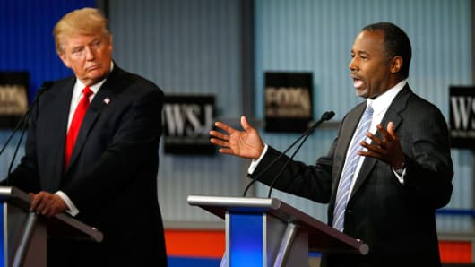 Republican U.S. presidential candidate and businessman Donald Trump listens as retired physician Ben Carson speaks during the debate in Milwaukee, Nov. 10, 2015.