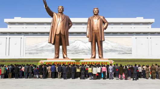 The statues of former North Korean Presidents Kim Il Sung and Kim Jong Il at Pyongyang are a major tourist attraction