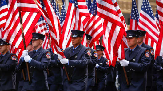 The Veteran's Day Parade along Fifth Avenue in New York City.