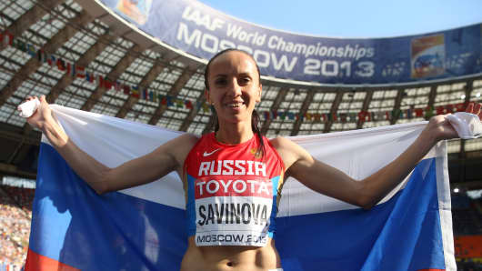 Mariya Savinova of Russia wins silver in the Women's 800 metres final of the 14th IAAF World Athletics Championships in Moscow on Aug. 18, 2013.