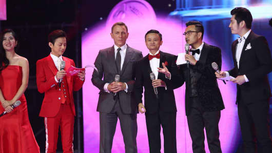 British actor Daniel Craig and Alibaba Chairman Jack Ma attend the ceremony of 2015 Tmall 11.11 Global Shopping Festival on November 10, 2015 in Beijing, China.