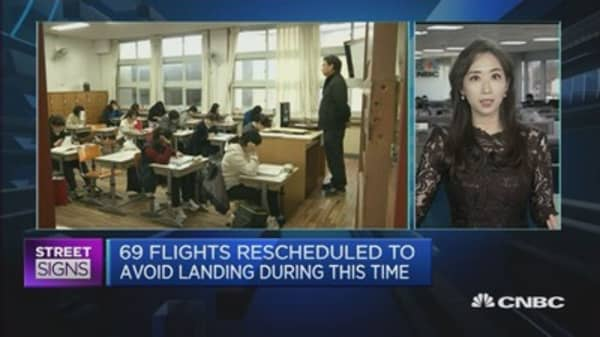 South Korea comes to a halt on college-entrance exam day