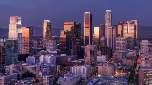 The skyline of Los Angeles