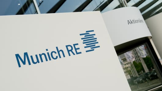 German reinsurance giant Munich Re at the International Congress Center in Munich, southern Germany.
