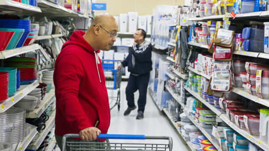 Shoppers look at merchandise at a Walmart store in Secaucus, New Jersey.