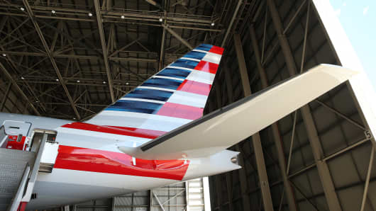 A Boeing Co. B777-300ER aircraft operated by American Airlines inside the Qantas Airways hangar at Sydney Airport in Australia, on Friday, Nov. 13, 2015.