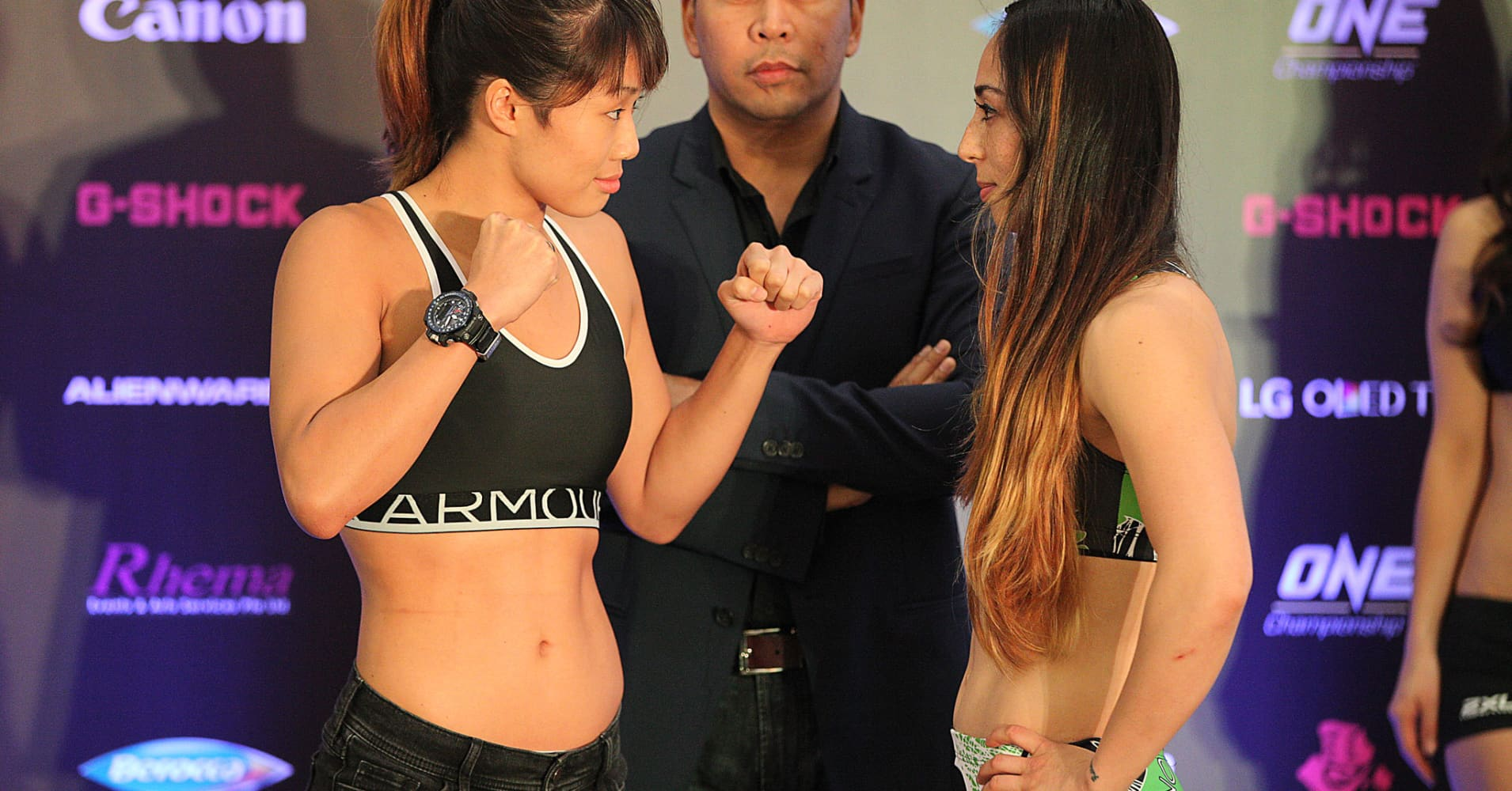 Angela Lee and Natalie Gonzales Hills during their weigh in, ahead of their bout at the ONE: Pride of Lions fighting event