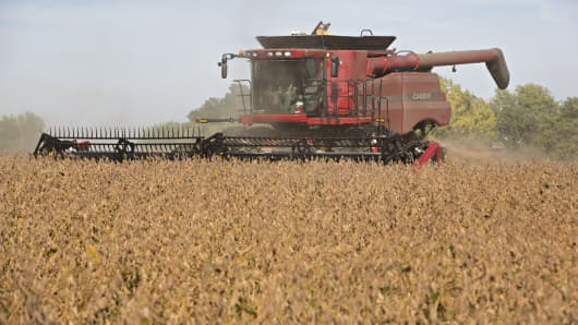 Soybeans are harvested with a Case IH 7230 combine harvester in Princeton, Ill., in September 2015.