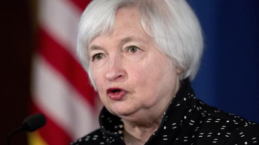 Janet Yellen, chair of the U.S. Federal Reserve, speaks at a monetary policy implementation and transmission conference at the Federal Reserve in Washington, D.C., U.S., on Thursday, Nov. 12, 2015.