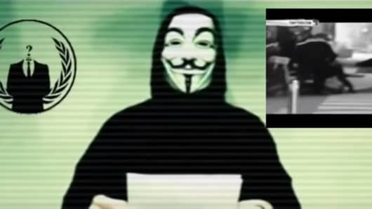 An image from the video posted on YouTube, purported to be from Anonymous.