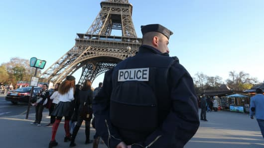 The Eiffel tower is closed for security reasons and guarded by police following Fridays terrorist attack on November 15, 2015 in Paris, France.