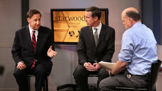 "Adam Aron, Starwood, left, and Arne Sorenson, Marriott International with Jim Cramer on ""Mad Money."""