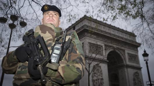 A French soldier enforcing the Vigipirate plan, France's national security alert system, patrols in front of The Arc de Triomphe (Arch of Triumph) on November 16, 2015 in Paris, France.