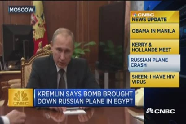 CNBC update: Russia admits bomb brought down plane