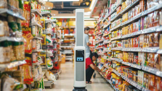 Simbe's Tally robot being tested at an undisclosed store.