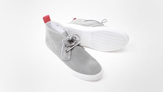 Del Toro Grey Perforated Suede Alto Chukka Sneaker