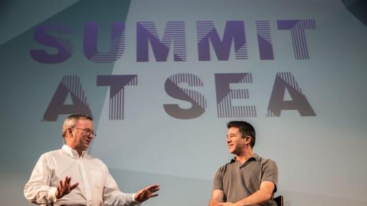 Eric Schmidt and Travis Kalanick speak at Summit at Sea.