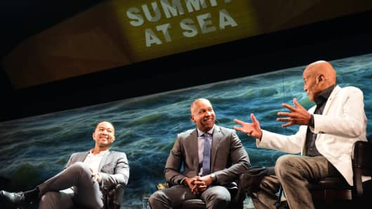 Singer John Legend, author, lawyer and social-justice advocate Bryan Stevenson and singer-turned activist Harry Belafonte during Summit at Sea.