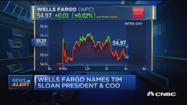 Tim Sloan named Wells Fargo president & COO
