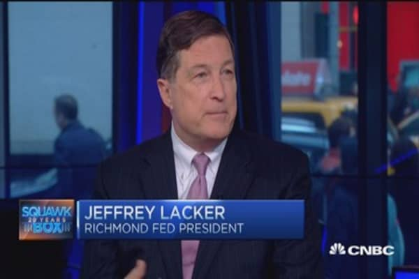Jeffrey Lacker:  View unchanged on rates