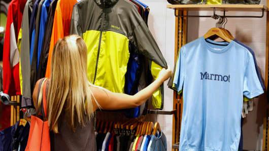 A woman looks at a Marmot Mountain jacket in Salt Lake City, Utah.