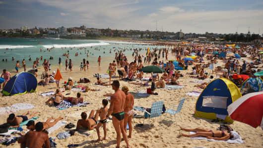 People at Bondi Beach in Sydney, Australia, on Oct. 5, 2015.