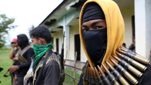 Armed members of the Philippines' Bangsamoro Islamic Freedom Fighters.