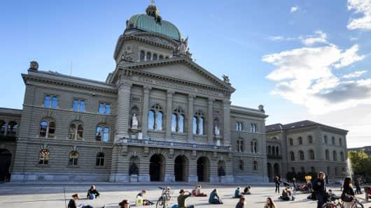 The Swiss Parliament in Bern, Switzerland.
