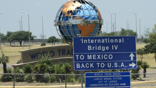The U.S.-Mexico border, outside Laredo, Texas.