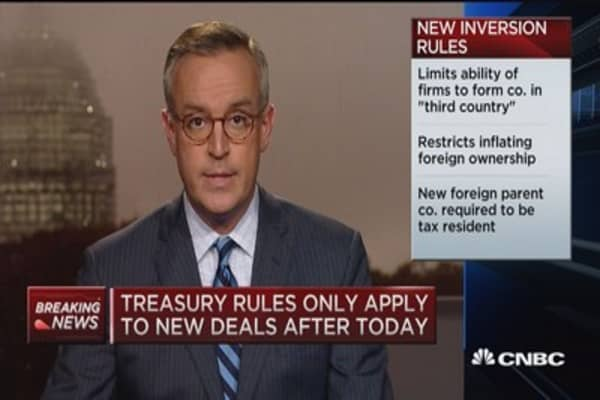 Treasury toughens new tax inversion rules