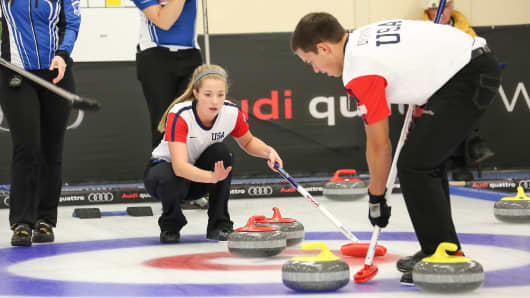 Curling Mixed Doubles Semi Finals during the Winter Games NZ at Naseby Curling Rink on August 27, 2015 in Naseby, New Zealand.