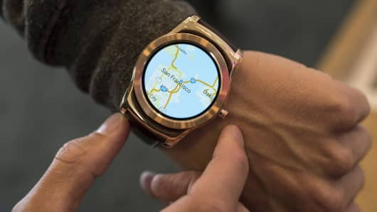 A map of San Francisco is seen on an LG Electronics Inc. Urbane Smartwatch.