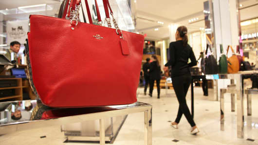 Coach handbags on display in Macy's, New York City.