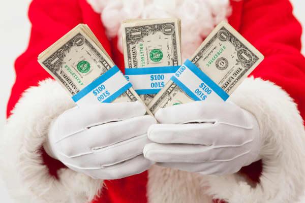 Holiday tipping Santa Claus