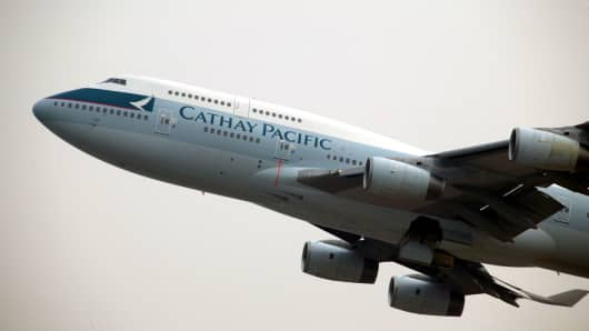 A Cathay Pacific 747 passenger plane.