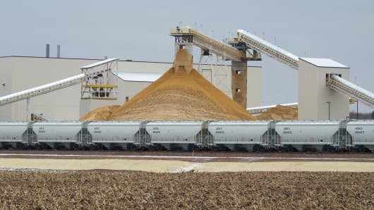 Sand destined for the oil and gas fields piles up at the EOG Resources processing plant in Chippewa Falls, Wisc.
