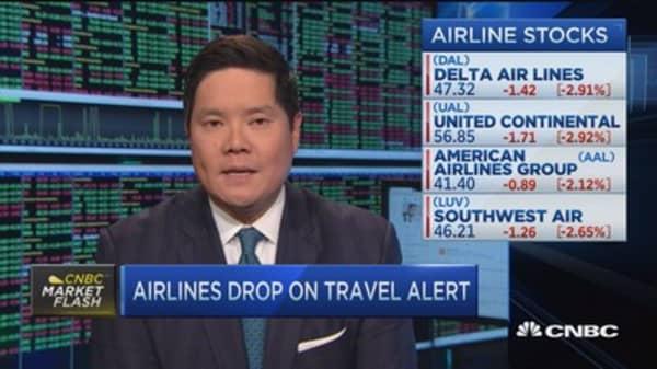 Airline stocks drag on travel alert