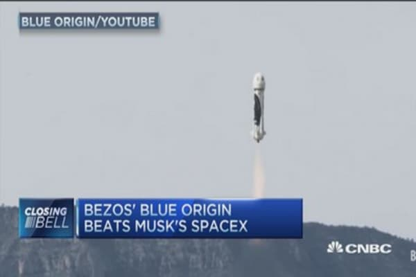 Bezos' rocket bests Musk's