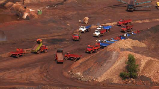 An iron ore mine in Goa, India