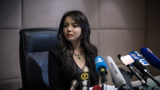 Miss World Canada Anastasia Lin is interviewed in Hong Kong after being denied entry to Sanya by a Chinese immigration official.